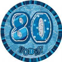 "Blue Glitz 6"" Badge - 80"